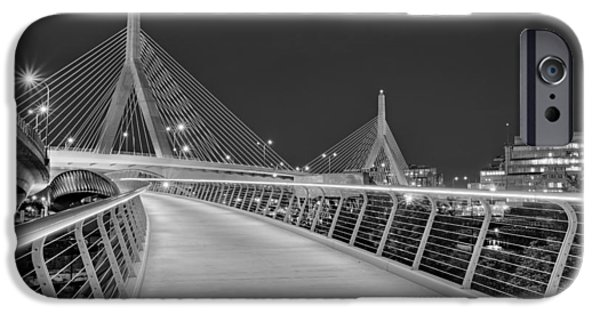 Charles River iPhone Cases - Zakim Bridge BW iPhone Case by Susan Candelario