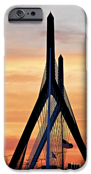 Freedom iPhone Cases - Zakim bridge in Boston iPhone Case by Elena Elisseeva