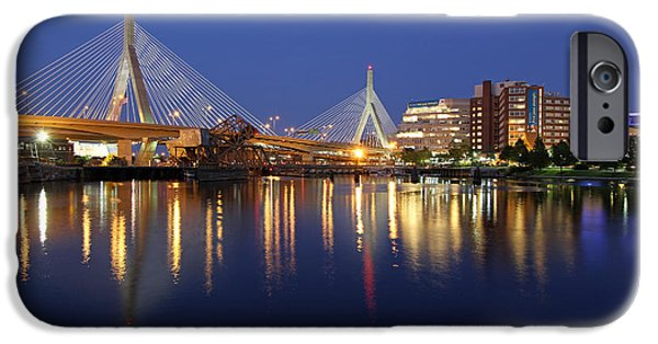 Charles River iPhone Cases - Zakim Bridge in Boston iPhone Case by Juergen Roth