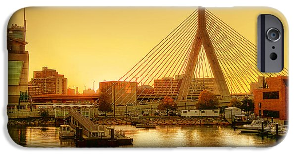 Charles River iPhone Cases - Zakim Bridge Sunset iPhone Case by Nikolyn McDonald
