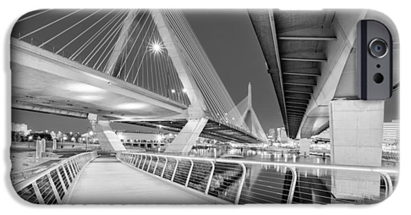 Recently Sold -  - Boston iPhone Cases - Zakim Bridge Twilight In Boston BW iPhone Case by Susan Candelario