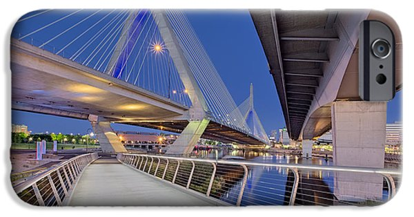 Boston iPhone Cases - Zakim Bridge Twilight In Boston iPhone Case by Susan Candelario
