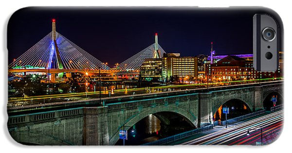 Charles River iPhone Cases - Boston Zakim Bridge iPhone Case by Tom Wilder