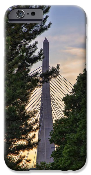 City. Boston iPhone Cases - Zakim Through the Trees iPhone Case by Joann Vitali