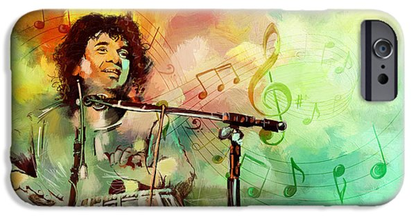 Mohammad Paintings iPhone Cases - Zakir Hussain iPhone Case by Catf