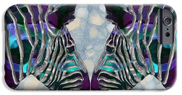 Zebra Digital iPhone Cases - Zebra 5 iPhone Case by Jack Zulli