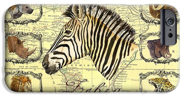 Zebra Digital iPhone Cases - Zebra African map heads iPhone Case by Juan  Bosco