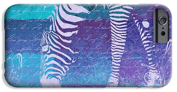 Zebra Digital iPhone Cases - Zebra Art - bp02t01 iPhone Case by Variance Collections