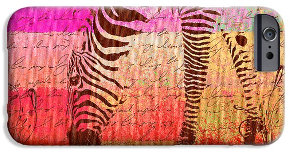 Zebra Digital iPhone Cases - Zebra Art - t1cv2blinb iPhone Case by Variance Collections