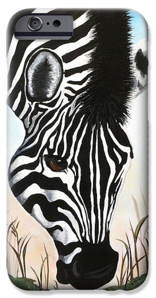 Zebra iPhone Case by Danise Abbott