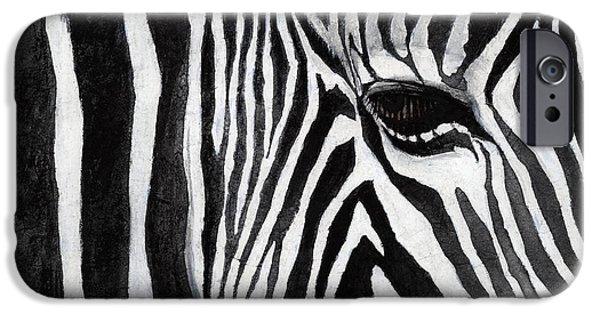 Macro Paintings iPhone Cases - Zebra Eye iPhone Case by Hailey E Herrera