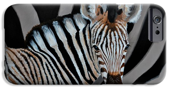 Young Paintings iPhone Cases - Zebra Foal iPhone Case by Danie Hattingh