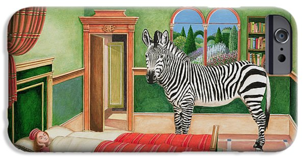 Wild Animals iPhone Cases - Zebra In A Bedroom, 1996 Acrylic On Board iPhone Case by Anthony Southcombe