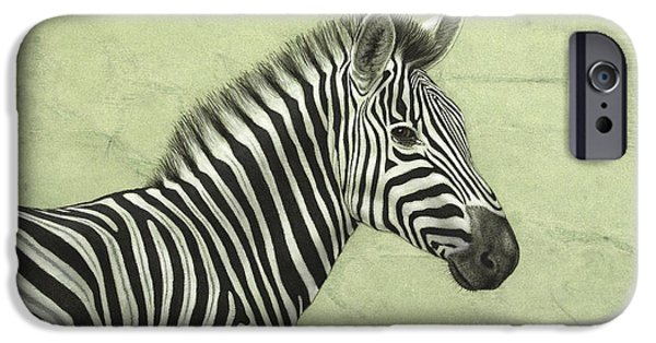 African Animal Drawings iPhone Cases - Zebra iPhone Case by James W Johnson
