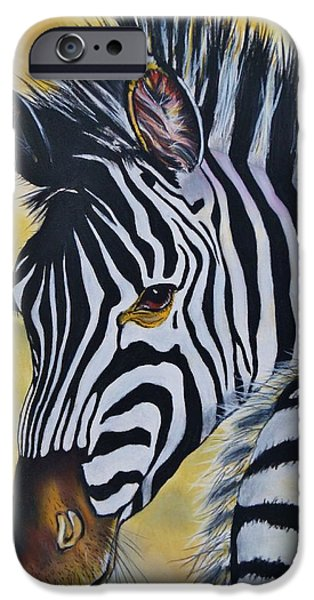 The Horse Pastels iPhone Cases - Zebra iPhone Case by Kevin Hubbard