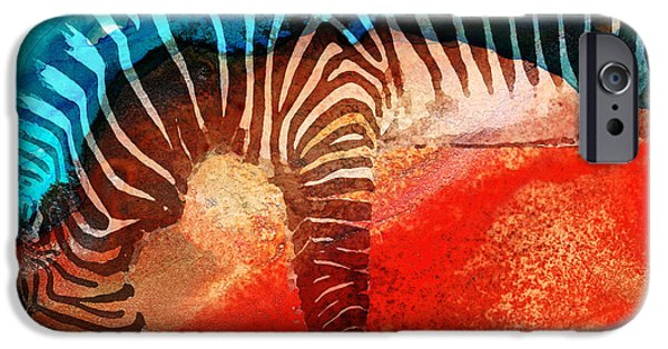 Zebra iPhone Cases - Zebra Love - Art By Sharon Cummings iPhone Case by Sharon Cummings