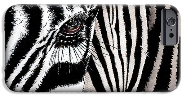 Technical Paintings iPhone Cases - Zebra No. 1 iPhone Case by Brian Murphy
