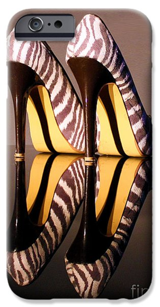 Zebra Print Stiletto iPhone Case by Terri  Waters