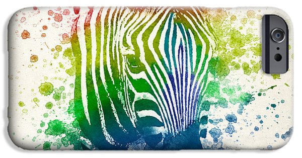 Zebra iPhone Cases - Zebra Splash iPhone Case by Aged Pixel