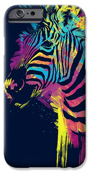 Colorful Prints iPhone Cases - Zebra Splatters iPhone Case by Olga Shvartsur