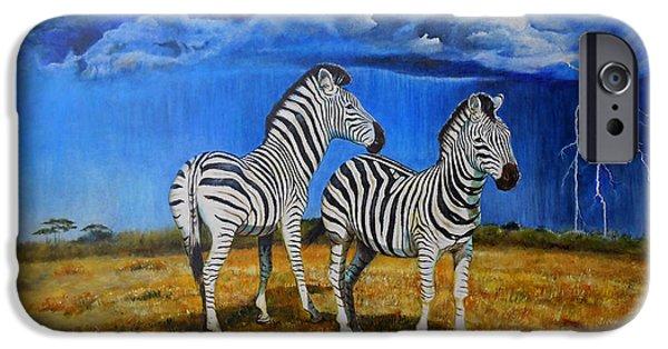 Zebra Digital Art iPhone Cases - Zebra Storm iPhone Case by Michael Durst