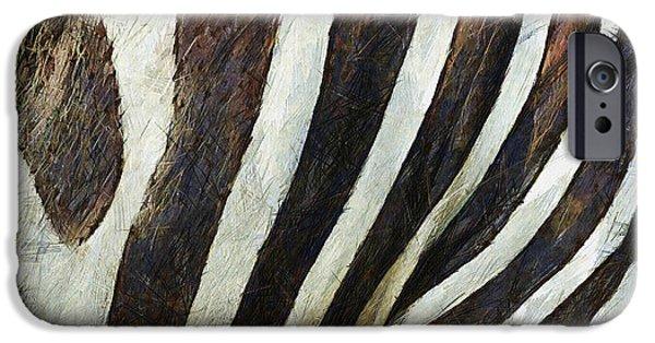 Zebra Digital iPhone Cases - Zebra Texture iPhone Case by Ayse Deniz