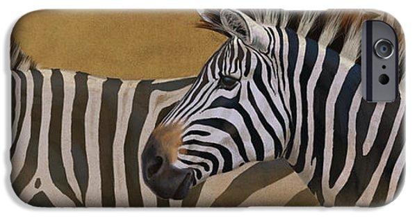 Zebra Digital iPhone Cases - Zebra Trio iPhone Case by Aaron Blaise