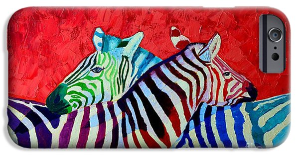 Abstract Expressionism iPhone Cases - Zebras In Love  iPhone Case by Ana Maria Edulescu