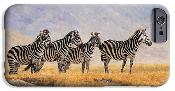 Zebra iPhone Cases - Zebras Ngorongoro Crater iPhone Case by David Stribbling