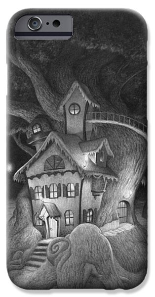Creepy Drawings iPhone Cases - Zelmas House iPhone Case by Richard Moore