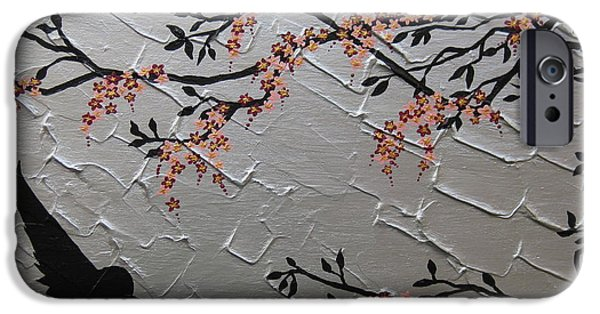 Cherry Blossoms Mixed Media iPhone Cases - Zen Blossom iPhone Case by Cathy Jacobs