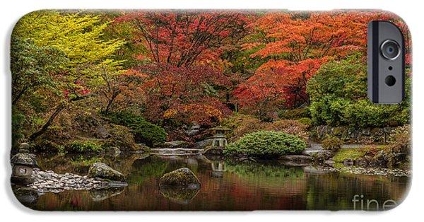 Japanese Garden iPhone Cases - Zen Garden Reflected iPhone Case by Mike Reid