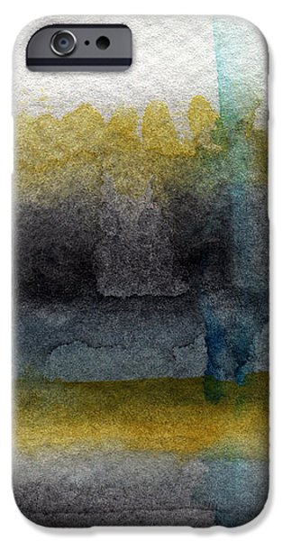 Yellow And Grey Abstract Art iPhone Cases - Zen Moment iPhone Case by Linda Woods