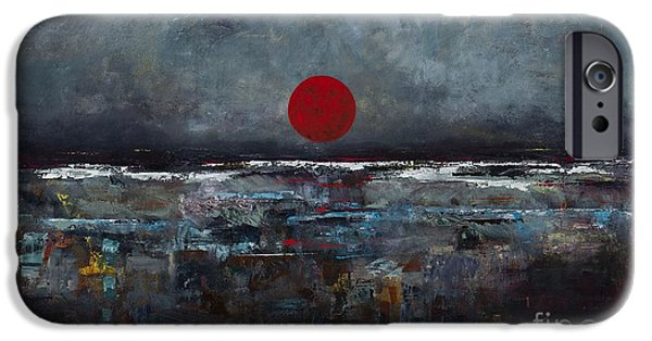 Sea Moon Full Moon Paintings iPhone Cases - Zen Moon iPhone Case by Frances Marino