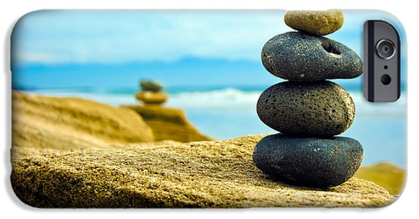 Stability iPhone Cases - Zen Stone stacked together iPhone Case by Aged Pixel