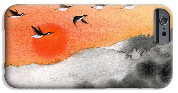 Canadian Geese Paintings iPhone Cases - Zen Sunset iPhone Case by Oiyee  At Oystudio