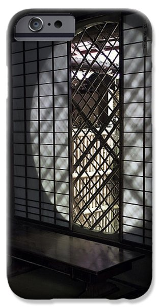 Bamboo Fence iPhone Cases - Zen Temple Window - Kyoto iPhone Case by Daniel Hagerman