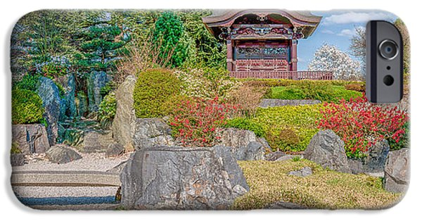 Historic England iPhone Cases - Zen Tranquility - Japanese Garden in Springtime - Panorama iPhone Case by Ian Monk