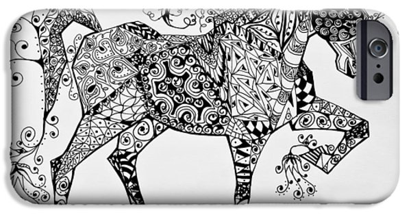 Freimann iPhone Cases - Zentangle Circus Horse iPhone Case by Jani Freimann