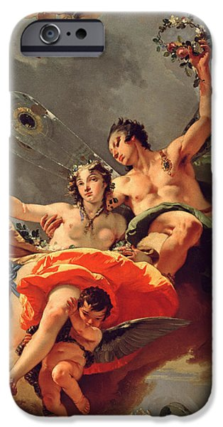 Wreath Paintings iPhone Cases - Zephyr and Flora iPhone Case by Giovanni Battista Tiepolo