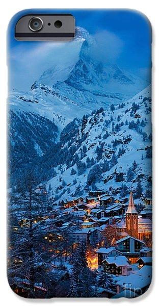 Swiss Landscape iPhone Cases - Zermatt - Winters Night iPhone Case by Brian Jannsen