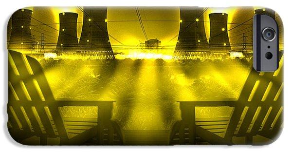 Pop Surrealism Digital iPhone Cases - Zero Hour in Yellow iPhone Case by Mike McGlothlen