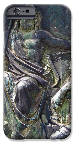 Zeus Bronze Statue Dresden Opera House iPhone Case by Jordan Blackstone