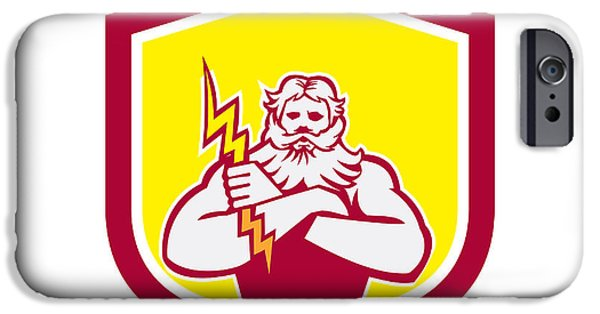 Zeus iPhone Cases - Zeus Greek God Arms Cross Thunderbollt Retro iPhone Case by Aloysius Patrimonio