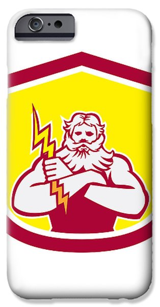 Zeus Greek God Arms Cross Thunderbollt Retro iPhone Case by Aloysius Patrimonio