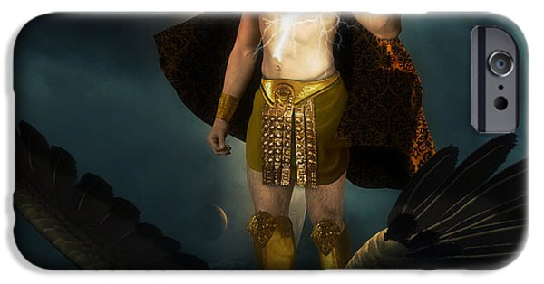 Zeus iPhone Cases - Zeus King of the Gods iPhone Case by Creative Sunny