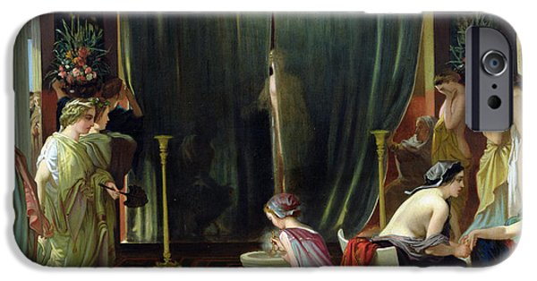 Concubines Paintings iPhone Cases - Zeuxis Choosing a Model for Helen iPhone Case by Victor Mottez