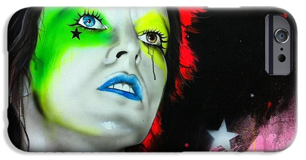 David iPhone Cases - Ziggy Played Guitar iPhone Case by Christian Chapman Art