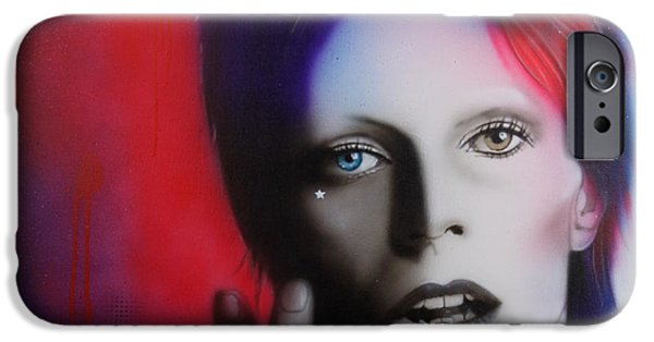 Celebrities Art Paintings iPhone Cases - Ziggy Stardust iPhone Case by Christian Chapman