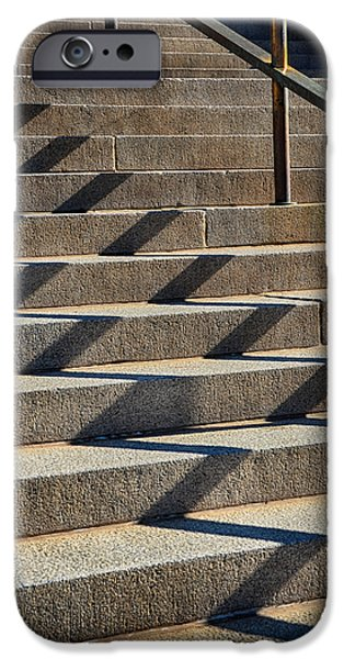 Downtown Stairs iPhone Cases - Zigzag Shadows iPhone Case by Angelina Vick